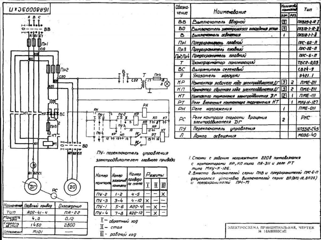 На рисунке представлена электрическая схема станка.
