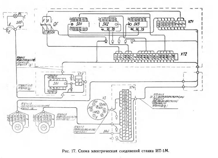 Схема электрическая соединений станка ИТ-1М