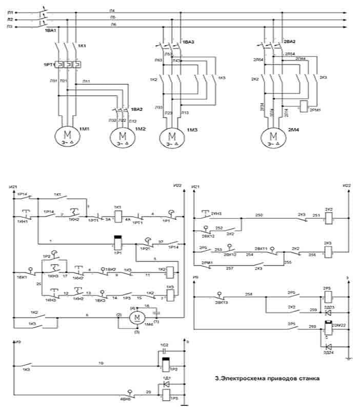 Силовая электросхема станка 1512